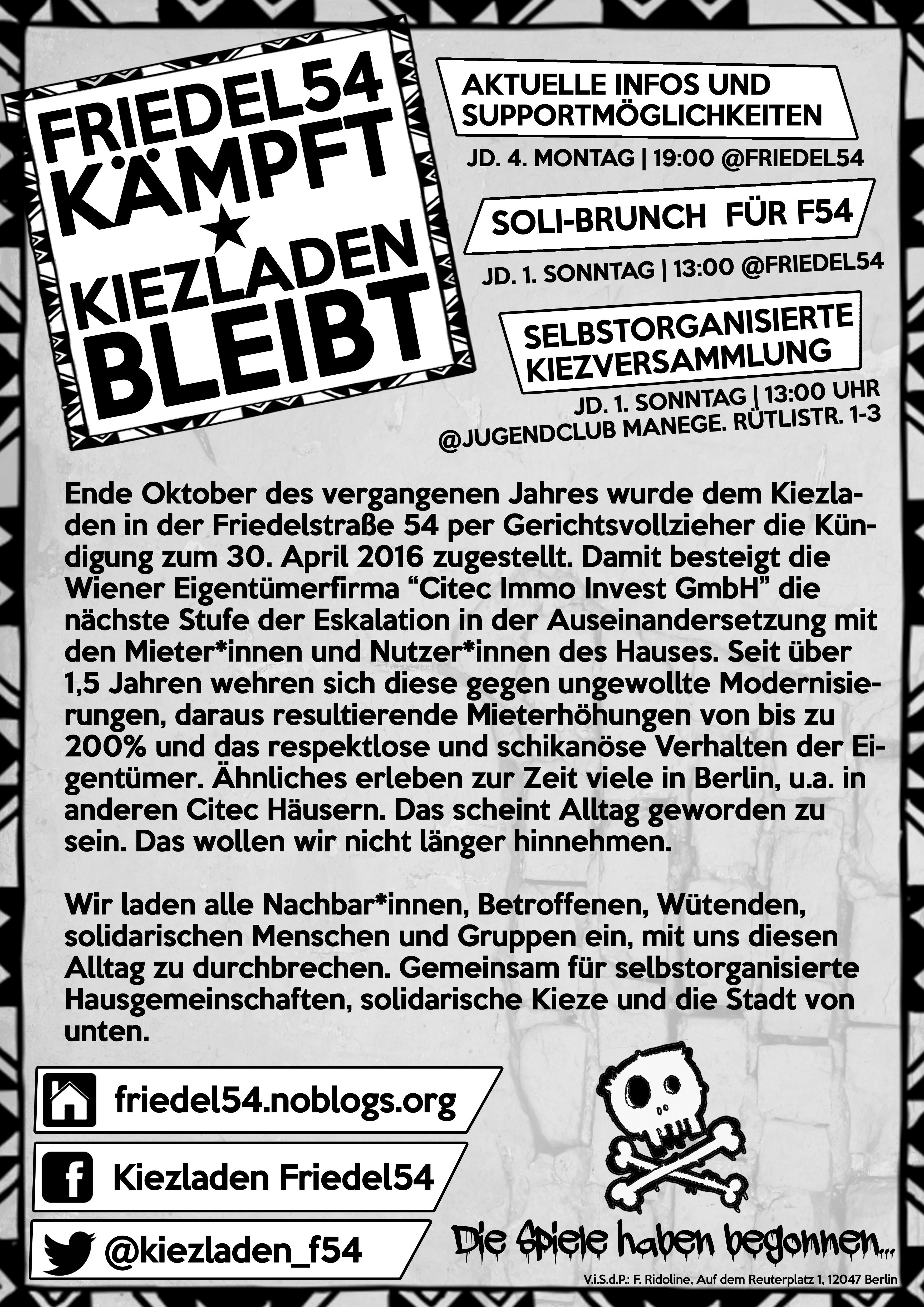 Friedel54 kämpft – Kiezladen bleibt!