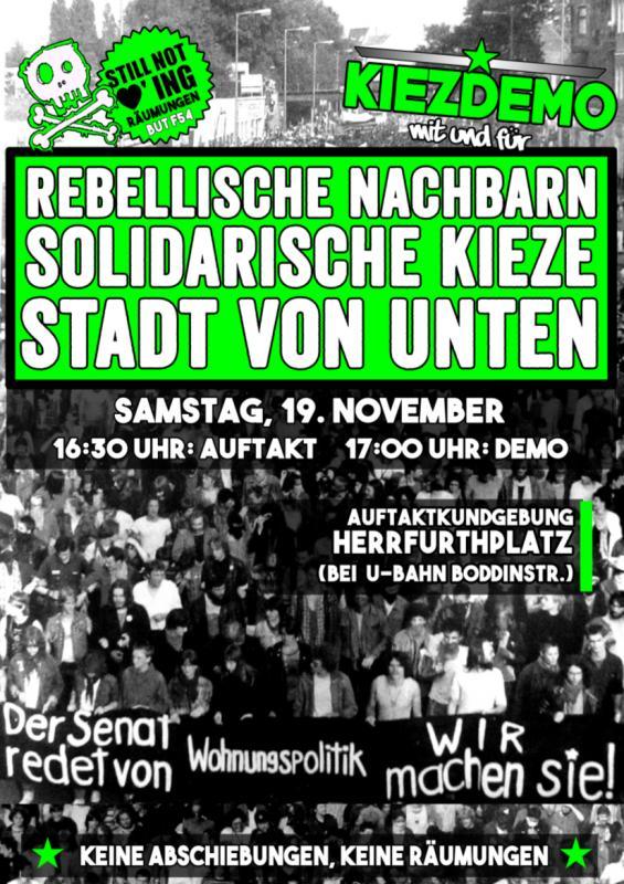 [PM] Demonstration am Samstag: Nordneukölln zum rebellischen Kiez machen!