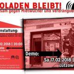 Demo am Samstag, 17.02., 15 Uhr am Berliner Lützowufer 25 für den Magdeburger Infoladen Stadtfeld