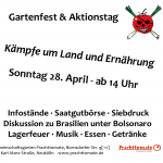 Gartenfest zum Internationalen Tag des kleinbäuerlichen Widerstands | So. 28.04. | 14 – 18 Uhr | @ Prachttomate | Festa no Jardim - Dia Internacional de Luta Camponesa