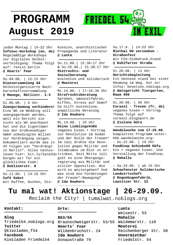 Monatsprogramm August 2019