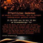 15.10.19: Öffentliches Gedenken an unsere Freund*innen, die an Europas Außengrenzen getötet wurden