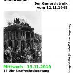 13.11., 19.00 Uhr | Essen & Info - 9 Mio. Streikende! Der Generalstreik vom 12.11.1948| @ Ida Nowhere, Donaustr. 79, Neukölln