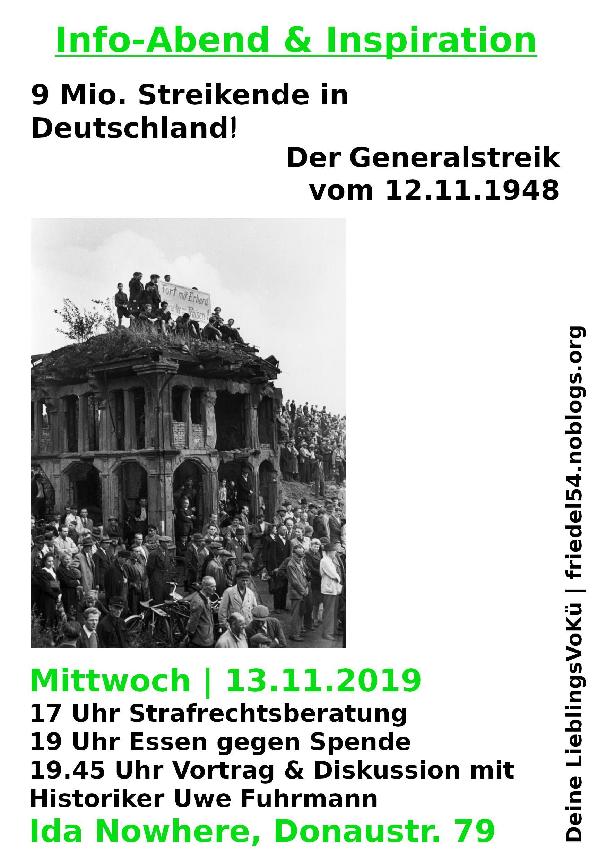 13.11., 19.00 Uhr | Essen & Info – 9 Mio. Streikende! Der Generalstreik vom 12.11.1948| @ Ida Nowhere, Donaustr. 79, Neukölln