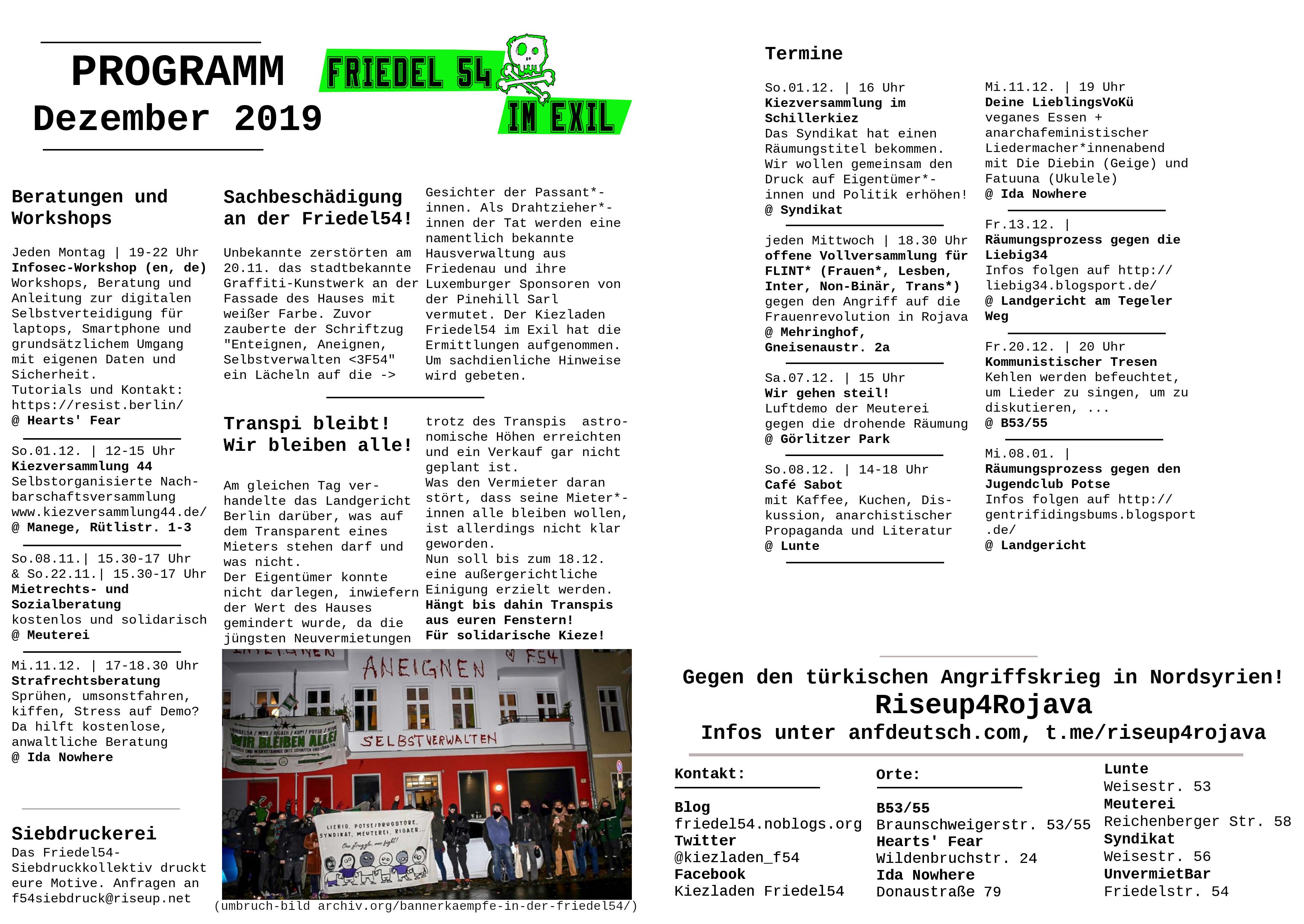 Friedel54 im Exil – Monatsprogramm Dezember 2019