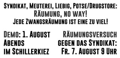 Räumungen – Abschiebungen – Faschisierung – Raus aus der Defensive // Demonstration am 01.08.2020 – 20 Uhr – Herrfurthplatz – Berlin/Neukölln